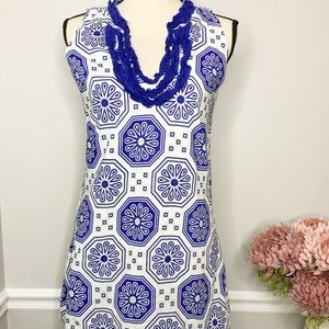 TRACY NEGOSHIAN Blue ruffle sleeveless dress